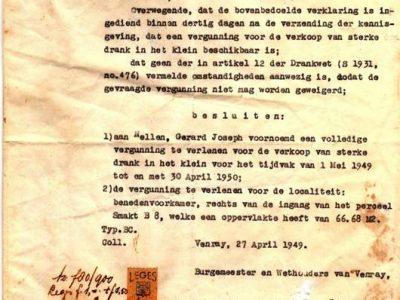 Orginele Vergunning Nellen 1949